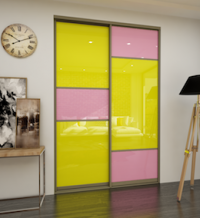 Дверь-купе со стеклом (Yellow/Pink)