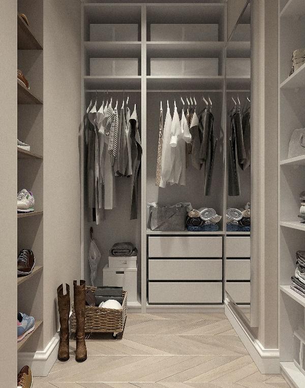 Светлая гардеробная